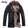 2016 Homens Da Marca Jaqueta De Couro Genuíno Casaco de Inverno Forro De Pele De Vison/Black/brown/Estilo Simples Negócio/pele de carneiro outwear 1200