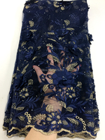 Dubai Wholesale High Quality Latest Mesh African Lace Fabrics 2018 Navy blue French Textile Lace Fabric For Garment Dress