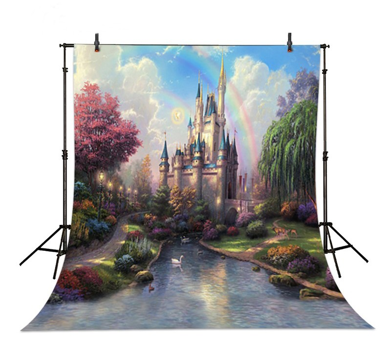 Cinderella Princess Castle Rainbow backdrops Vinyl cloth High quality Computer printed party Photography Backgrounds soach 2017 new ukulele ukulele guitar acoustic tune quick change trigger guitar capo key clamp colors metal capo
