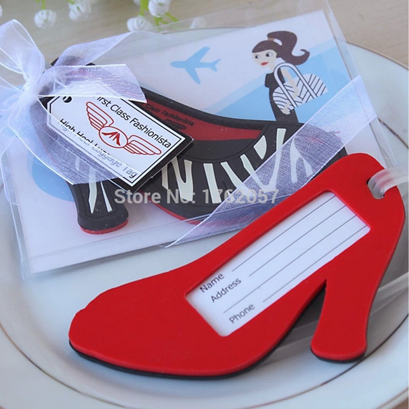 Party gift guests present First Class Fashionista High Heel Luggage Tag Wedding Favors 100pcs