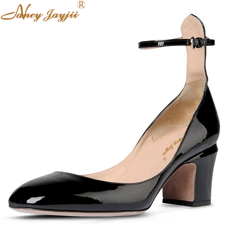 Clogs Women Classic Shoes Ankle Strap Spring Sexy Casual Buckle Solid 8CM High Square Heels Pumps Office Round Toe Red Black  11 цена