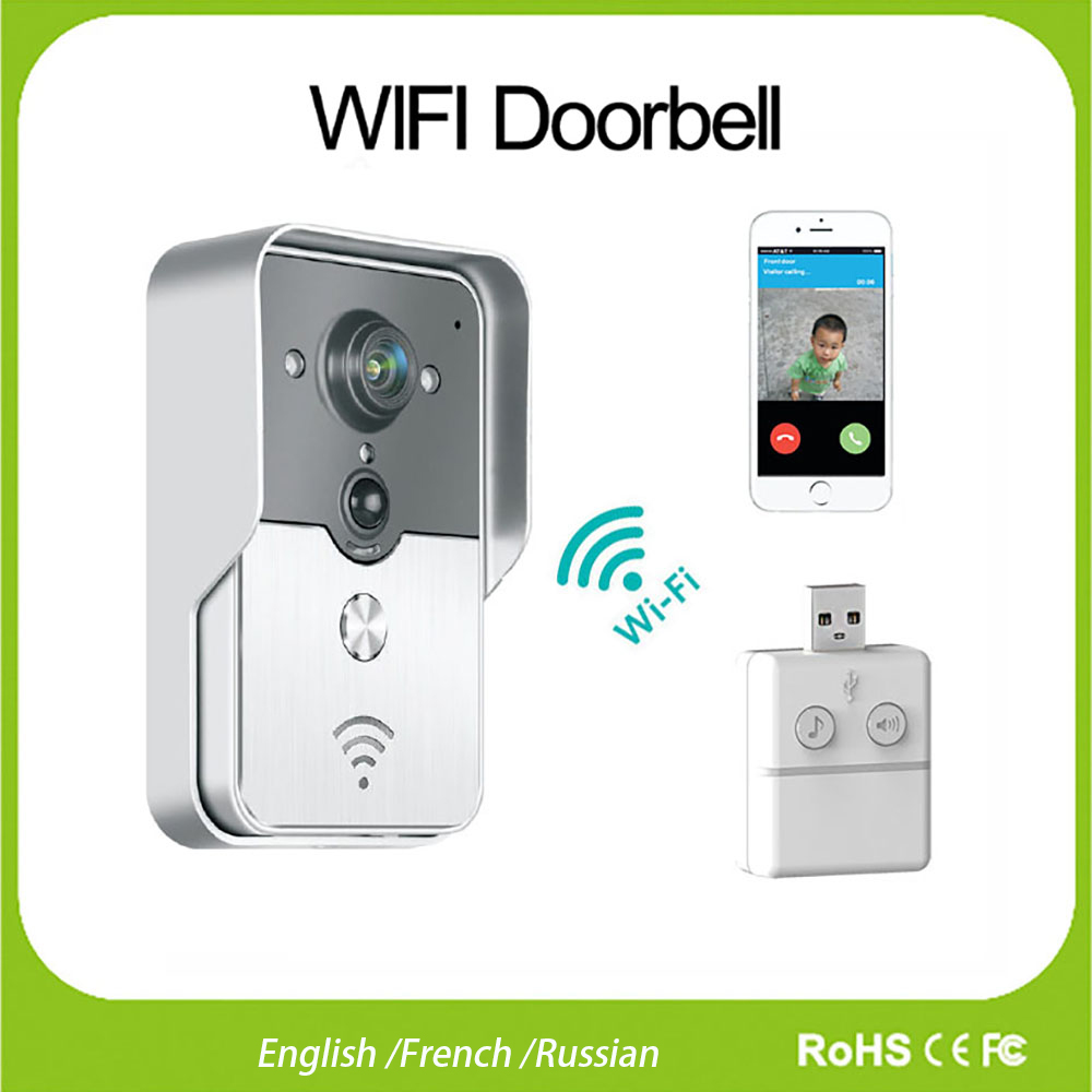 wifi wireless video doorphone intercom doorbell peehole. Black Bedroom Furniture Sets. Home Design Ideas