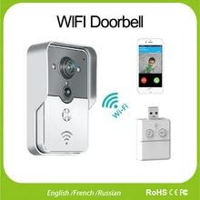 WiFi Sans Fil Vidéo Interphone interphone Sonnette judas Caméra Anglais/Français/Russe PIR Vision Nocturne D'alarme USB Musique Sonnette