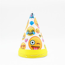 6Pcs Lot Party Hat Yellow Face Emoji Birthday Decorations Kids Childrens Supplies