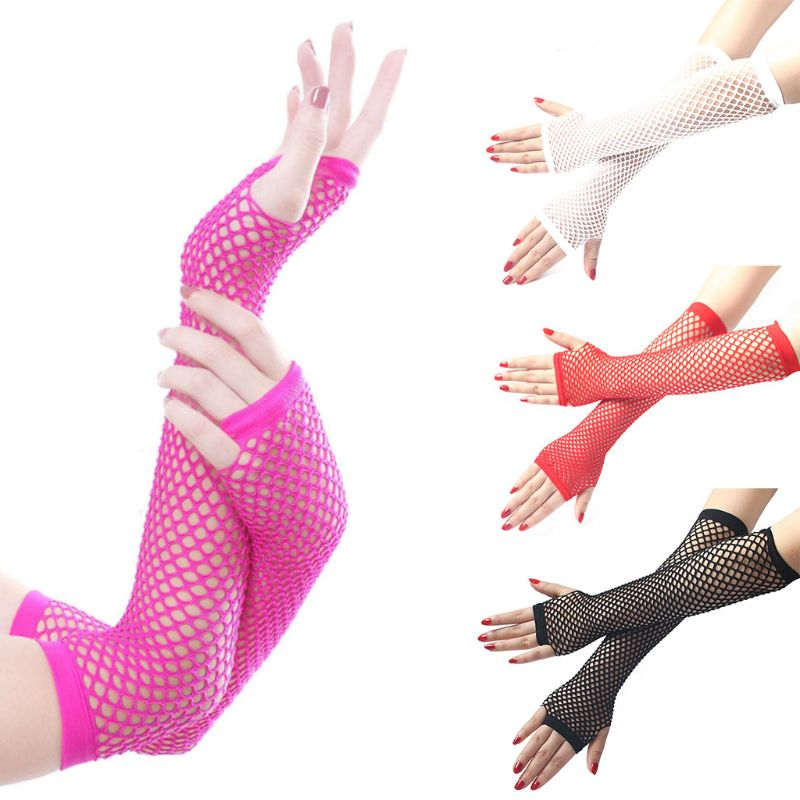 Women Punk Gothic Solid Color Fishnet Half Hand Fingerless Long Golves With Thumb Hole Length Hollow Out Mittens Party