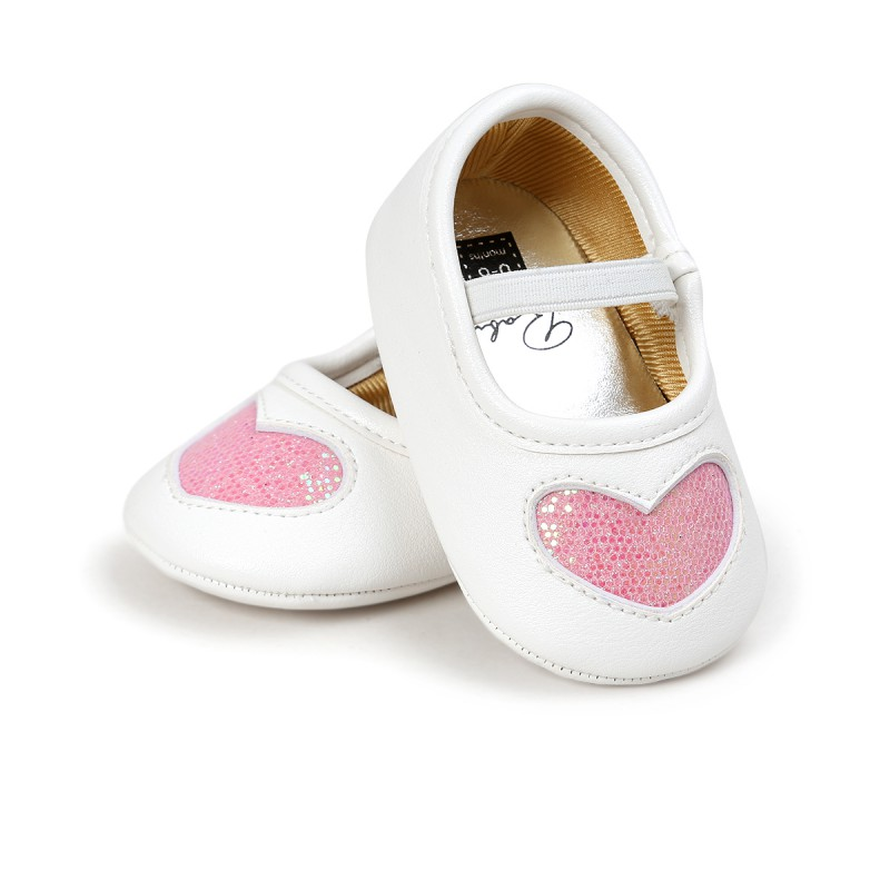 Baby Prewalker Shoes Baby Boys Girls First Walkers Bling Heart Shape Soft Sole Crib Toddler PU Leather Shoes