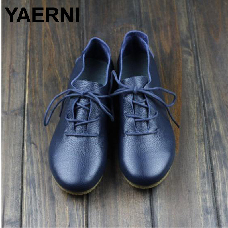 YAERNI Women's Flat Shoes Genuine Leather Casual Lace Up Shoes Round toe Female Footwear Slip Resistant Rubber sole front lace up casual ankle boots autumn vintage brown new booties flat genuine leather suede shoes round toe fall female fashion