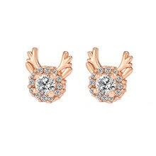 Accessorie Crystal Earrings luxury three-dimensional Christmas reindeer antler Gift Reindeer Stud Ear rings Jewelry