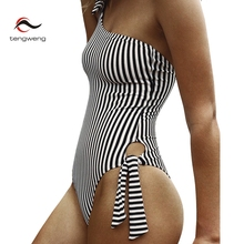 Купить с кэшбэком 2019 Striped One Piece Swimsuit One Shoulder Women Swimwear Push Up Bathing Suit Monokini Plus size Bodysuit Maillot De Bain