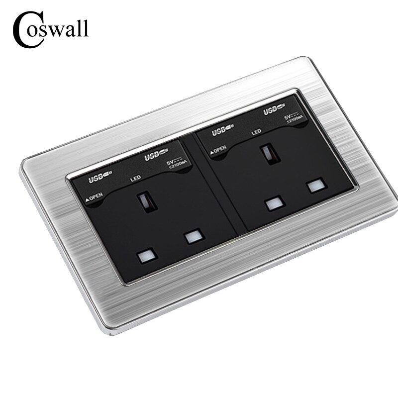 COSWALL 146 UK Standard Doppelsteckdose mit 4 USB-Lade Port Für Mobile Ausgang 5 V 2100mA Steckdose Edelstahl Panel