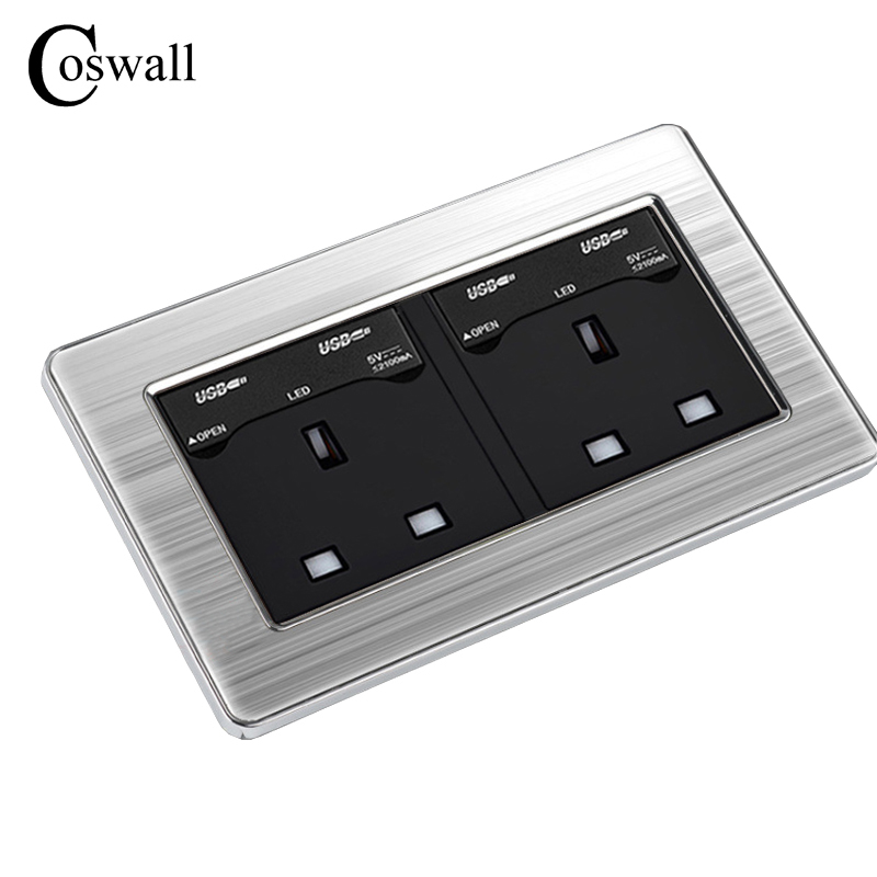 COSWALL 146 UK Standard Double Socket with 4 USB Charge Port For Mobile Output 5V 2100mA Wall Outlet Stainless Steel Panel coswall wall socket uk standard power outlet switched with dual usb charge port for mobile 5v 2 1a output stainless steel panel