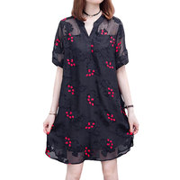 New Women Casual Basic Summer Black Sexy Dress V-neck Dresses Short sleeves Embroidery Plus Size