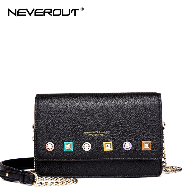 NEVEROUT 4 Color Genuine Leather Bag Soft Leather Ladies Fashion Messenger Bag Rivet Style Flap Shoulder Sac Bags Crossbody Bags neverout new crossbody handbag women messenger bag cover small flap bags fashion shoulder bags simply style genuine leather bag
