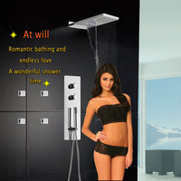 Wall Thermostatic Bath Faucet Shower Set Bathroom Product Rain Waterfall Massage Tap Mixer Set Luxury Square Overhead Shower