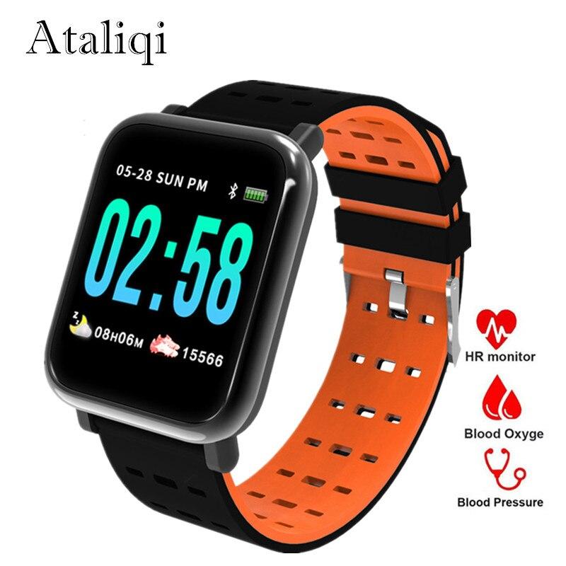 Ataliqi A6 inteligente pulsera reloj Monitor de ritmo cardíaco sangre presión actividad Fitness pulsera banda inteligente para IOS Android