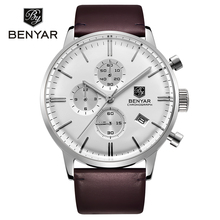 Reloj Hombre 2016 BENYAR Fashion Leather Strap Mens Watches Top Brand Luxury Stainless Steel Case quartz-watch Relogio Masculino