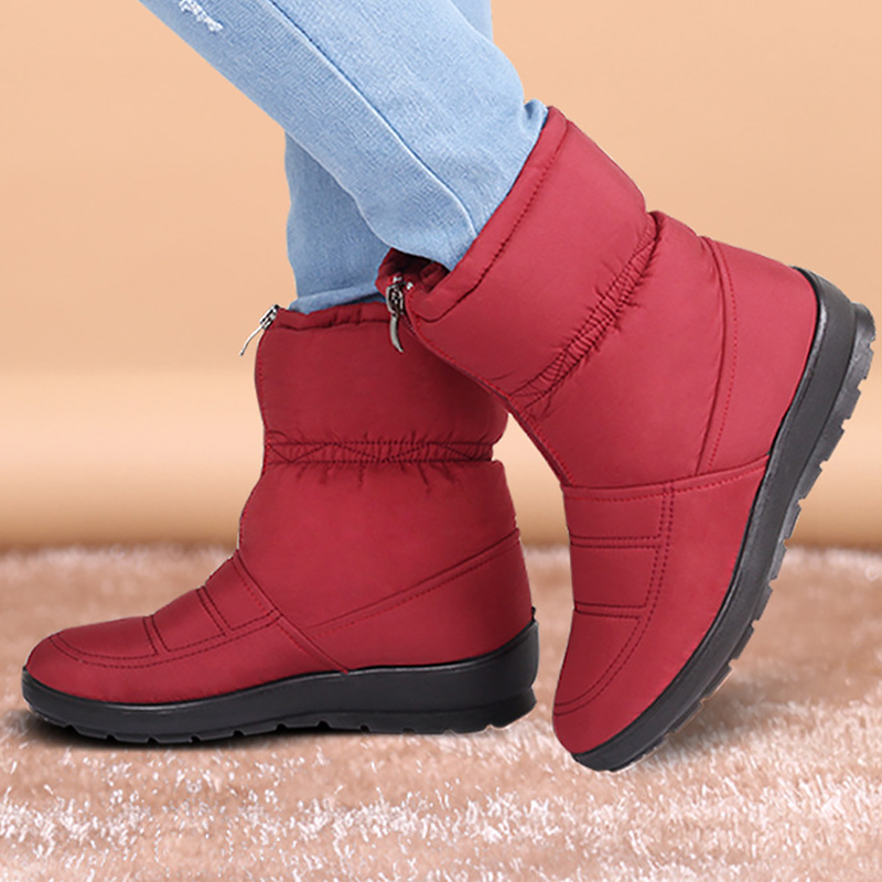 Ankle big size 4.5-10 rubber waterproof womens boots zip cotton solid designer female boot 2018 winter snow boots