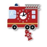 Cartoon Fire Truck Pattern Mute Clock Wall Sticker Kindergarten Restaurant kids Room Sofa Background Wall Pendulum Clock A5
