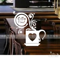 Coffee Cup Vinyl Wall Sticker Coffee Shop Quote Coffee Time Mural Art Wall Decal Coffee Shop Restaurant Glass Window Decoration