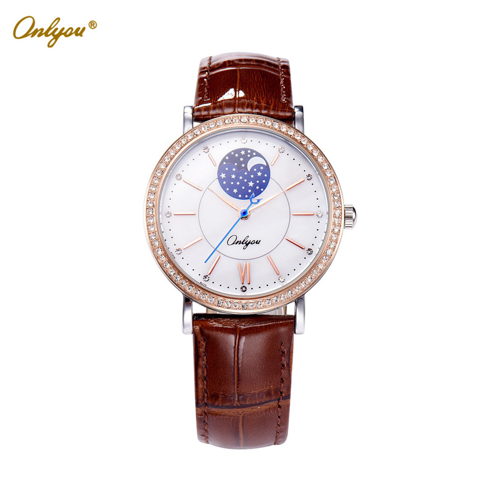 Onlyou White Ladies Leather Watch Quartz-Analog Big Dial With Rhinestones Waterproof Wrist Watches For Women Female Clock 81093 luxury big dial brand women watch vilam austria rhinestones miyota movement leather band quartz watch ladies clocks