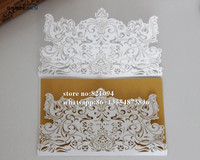 50pcs Free Shipping Laser Cutting party supplies vine Crown Design pearl paper Wedding Invitation Cards with inner Blank sheet