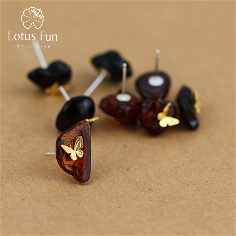 Lotus Fun Real 925 Sterling Silver Natural Amber Handmade Fine Jewelry Looking Back Butterfly Stud Earrings for Women Brincos mi mandela cd