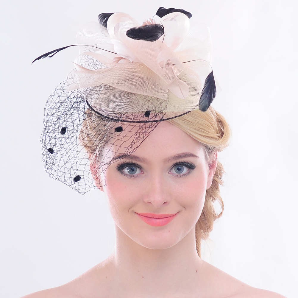 Faybox Women Feather Fascinator Bride Hats Black Birdcage Wedding Veil and Fascinators  Pink Net Hair Accessories-in Women s Hair Accessories from Apparel ... dd4ca2b3587