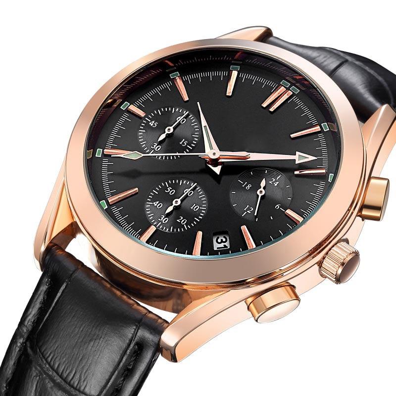 Men Wristwatch Quartz Watch Men's Fashion Wristwatches Date Watches Casual Leather Wrist Watch 30M Waterproof Wrist Watches Boy