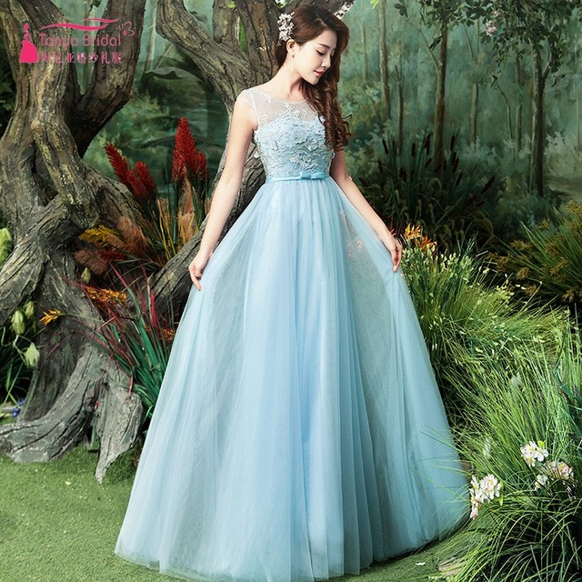 A Line Soft Tulle Light Blue Lace Appliques Prom Dress For ...