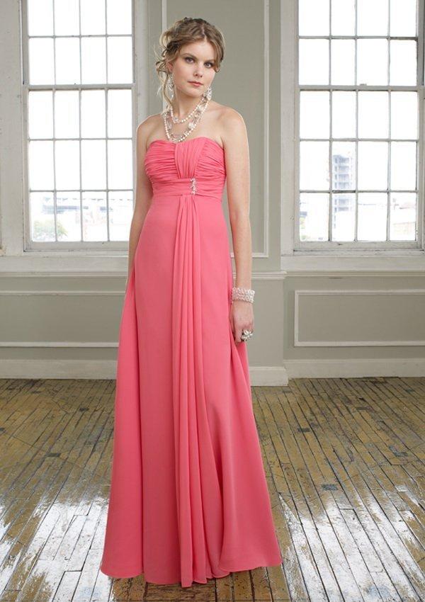 Elegante sin tirantes imperio cintura plisada gasa larga Coral Pink ...