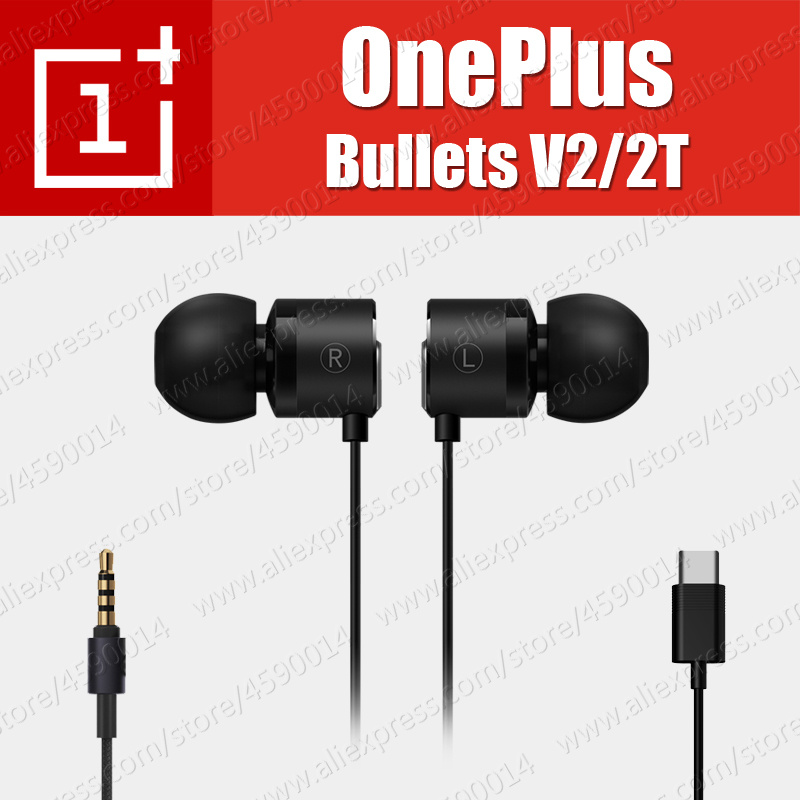 BE02B Original OnePlus Bullets V2 3.5mm 2T Type-C Bullets Earphones Headsets With Remote Mic For Oneplus 6T 6 5T 5 Mobile Phone