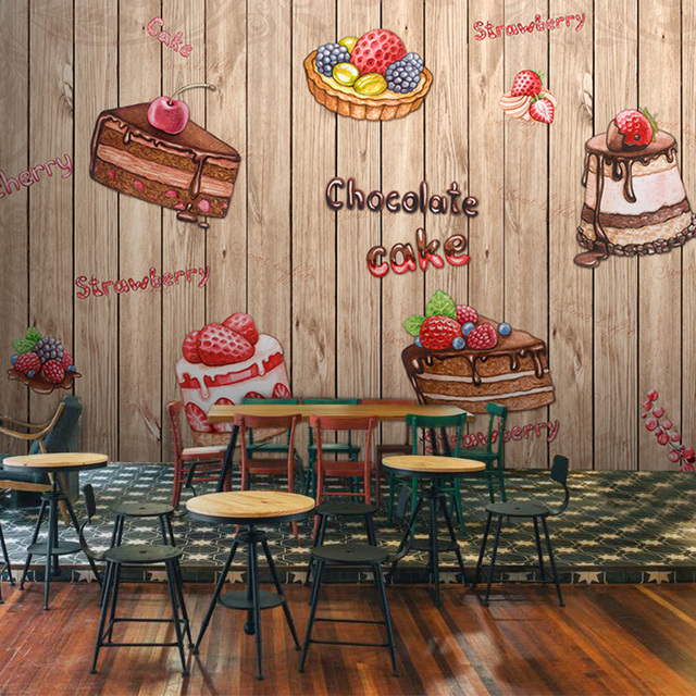 Hand painted 3d Dessert food background wall wallpaper bakery shop ...