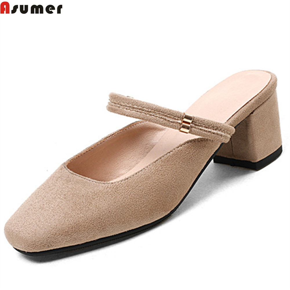 ASUMER black pink fashion spring autumn shoes woman square toe casual flock women med heels shoes square heel big size 33-44 memunia 2017 fashion flock spring autumn single shoes women flats shoes solid pointed toe college style big size 34 47