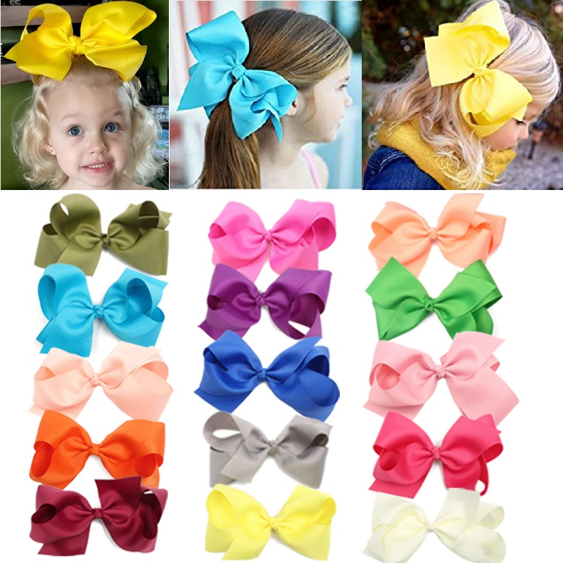 15 colors 6 Inch Hair Bows Grosgrain Ribbon Baby Girls Large Butique Bow Clip For Girls Teens Toddlers Kids Children