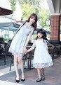Мода кружева мать дочь платья одежда семья взгляд девушка и мать дети свадебное платье черный белый семьи соответствующие одежда
