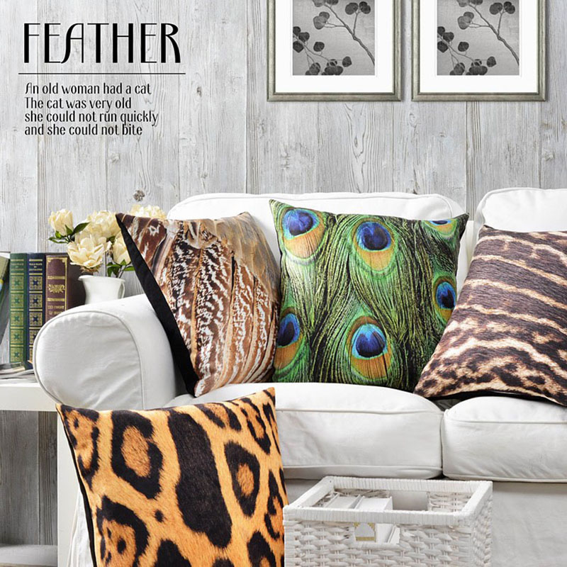 European Style American Leopard Tiger Peacock Feather Pillow Cushion Cotton  Linen Sofa Car Cafe Decoration Comfor