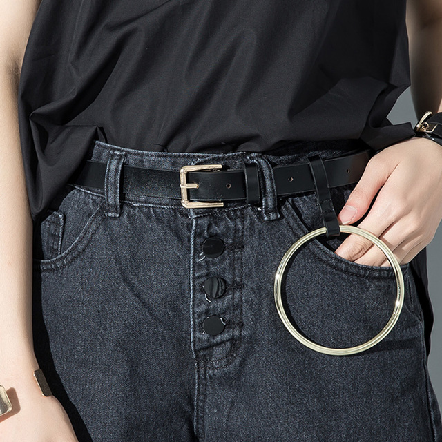 Women Unisex Designer Exaggerated Round Metal Circle Belts Hot Brand Punk Jeans Big O Ring belt  for Women Clothes Accessory