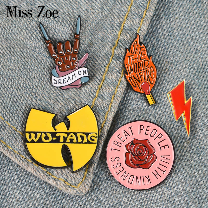 Rock You Enamel Pin Wu-tang OD Queen David Bowie Brooches Bag Clothes Lapel Pin Badge Rock and Roll Band Jewelry Music Lovers