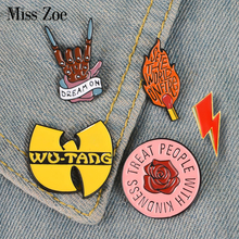 Pin esmaltado Rock You wu-tang OD Queen David Bowie broches bolsa ropa Pin para solapa con insignia Rock and Roll Band joyería amantes de la música
