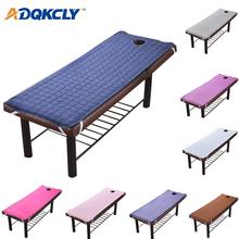 Jednolity kolor w kwadraty masażu kosmetycznego stolik przy łóżku arkusz przyjazny dla skóry materiał arkusz do masażu SPA łóżko zabiegowe z okrągłym otworem oddechowym tanie tanio ADQKCLY Grade A Solid Adults Plain Dyed Polyester Cotton Prześcieradło Plaid 300g 200TC