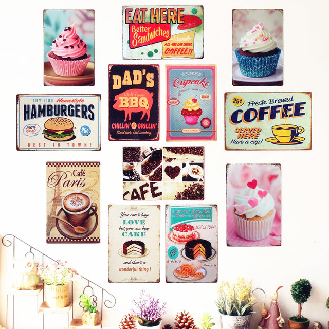 Vintage Cake Dessert Pie Ice Cream Metal Signs Retro Bakery Kitchen Wall Art Painting Home Decor