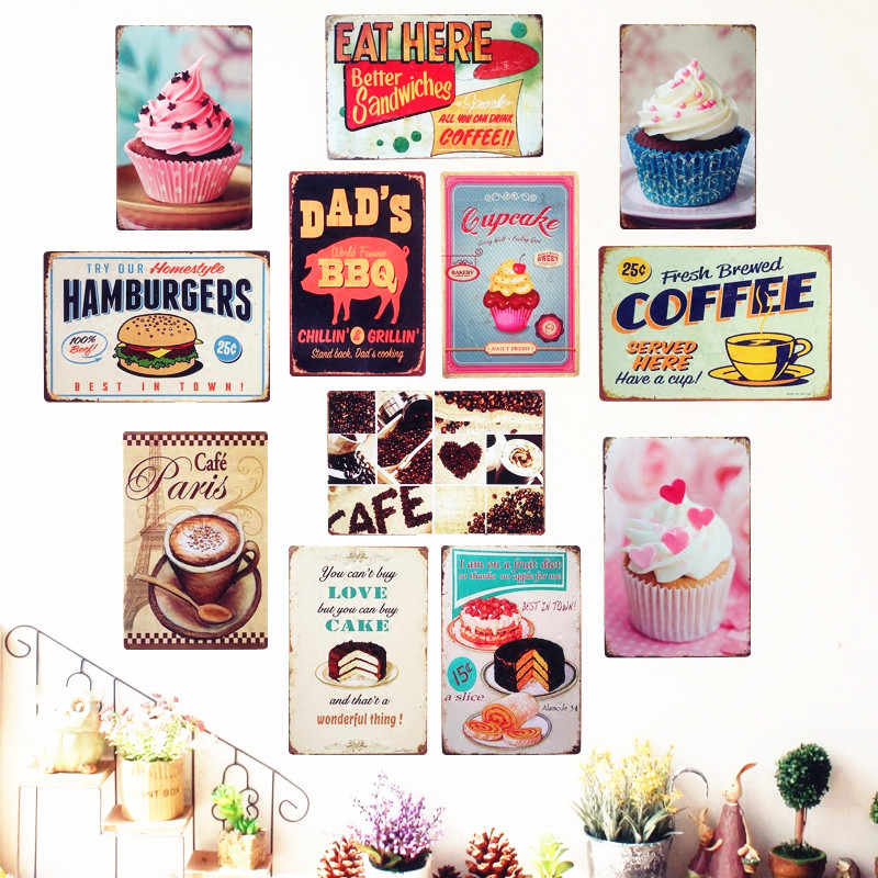 Vintage Cake Dessert Pie Ice Cream Metal Signs Retro Bakery ...