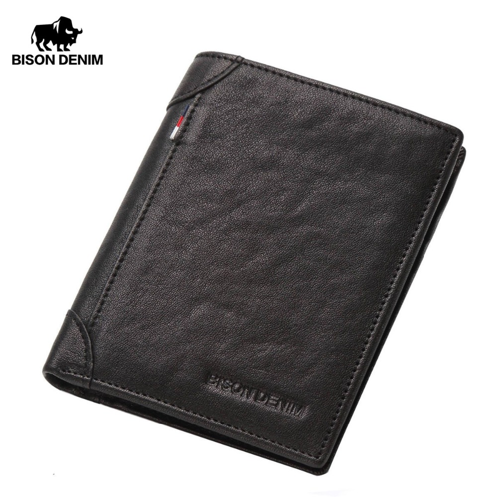 BISON DENIM Cowhide Genuine Leather Wallet Men ID Money Card Holder Purse Slim Brand Male Small Short Wallets For Winter N4456 men wallet male cowhide genuine leather purse money clutch card holder coin short crazy horse photo fashion 2017 male wallets