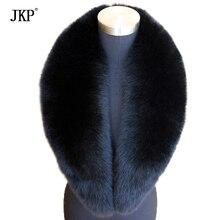 Длинный натуральный Лисий меховой воротник шарф натуральный черный 105 см* 16 см