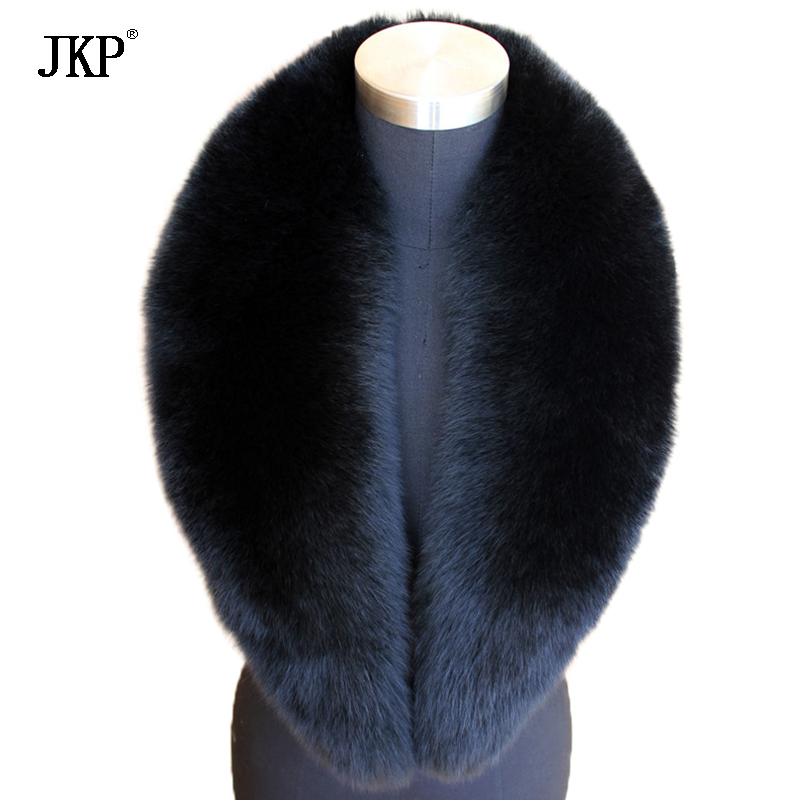 Largo 100% Real Full Fox Fur Collar Bufanda Bufanda Natural Negro 105CM * 16CM