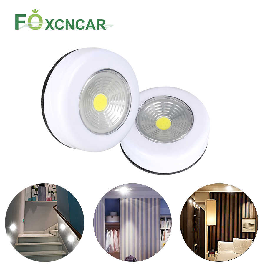Battery Powered Cob Round Led Touch Light Under Cabinet Led Wireless Wall Lamp Easy To Use Closet Kitchen Night Lights For Home Under Cabinet Lights Aliexpress