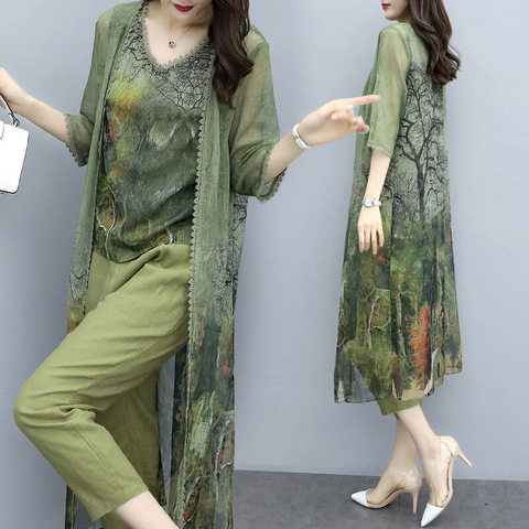 Summer Green Chiffon Printed 3 Piece Sets Women Plus Size Vest+cardigan+cropped Pants Suits Elegant Korean Womens Sets Femme Lahore