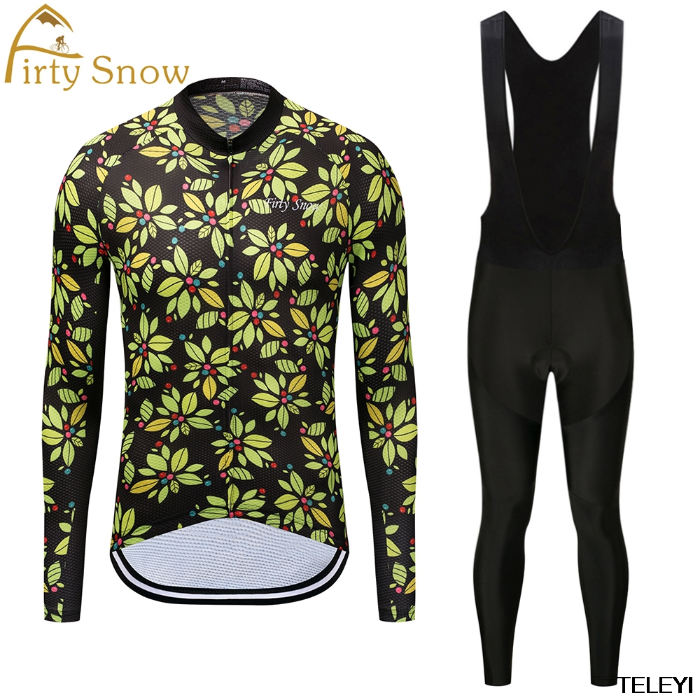firty snow Brand 2018 High Quality Newest Pro Fabric Cycling Jerseys Wear Long Sleeves Set Bike Clothing Pants Black Yellow L004