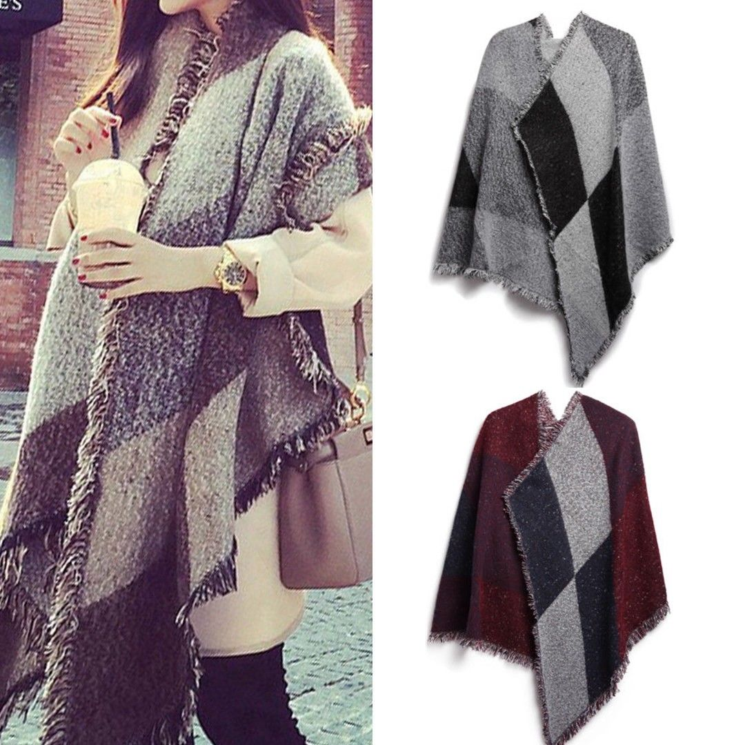 Lady Women New Fashion Warm Scraf Plaid Wearable Blanket Long Winter Scraf