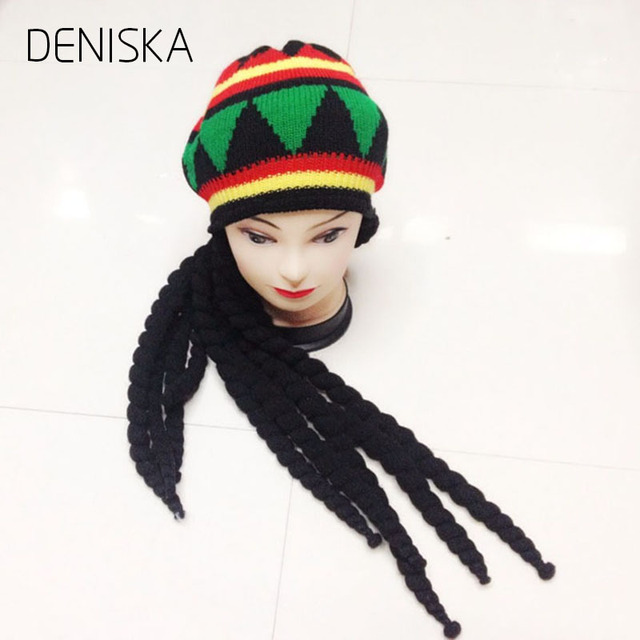 a0fecb867bb DENISKA 2018 new Men Women Rasta Hat Dreadlocks Wig Bob Marley Caribbean  Fancy Dress Prop Unisex Knitted Beanie Hat